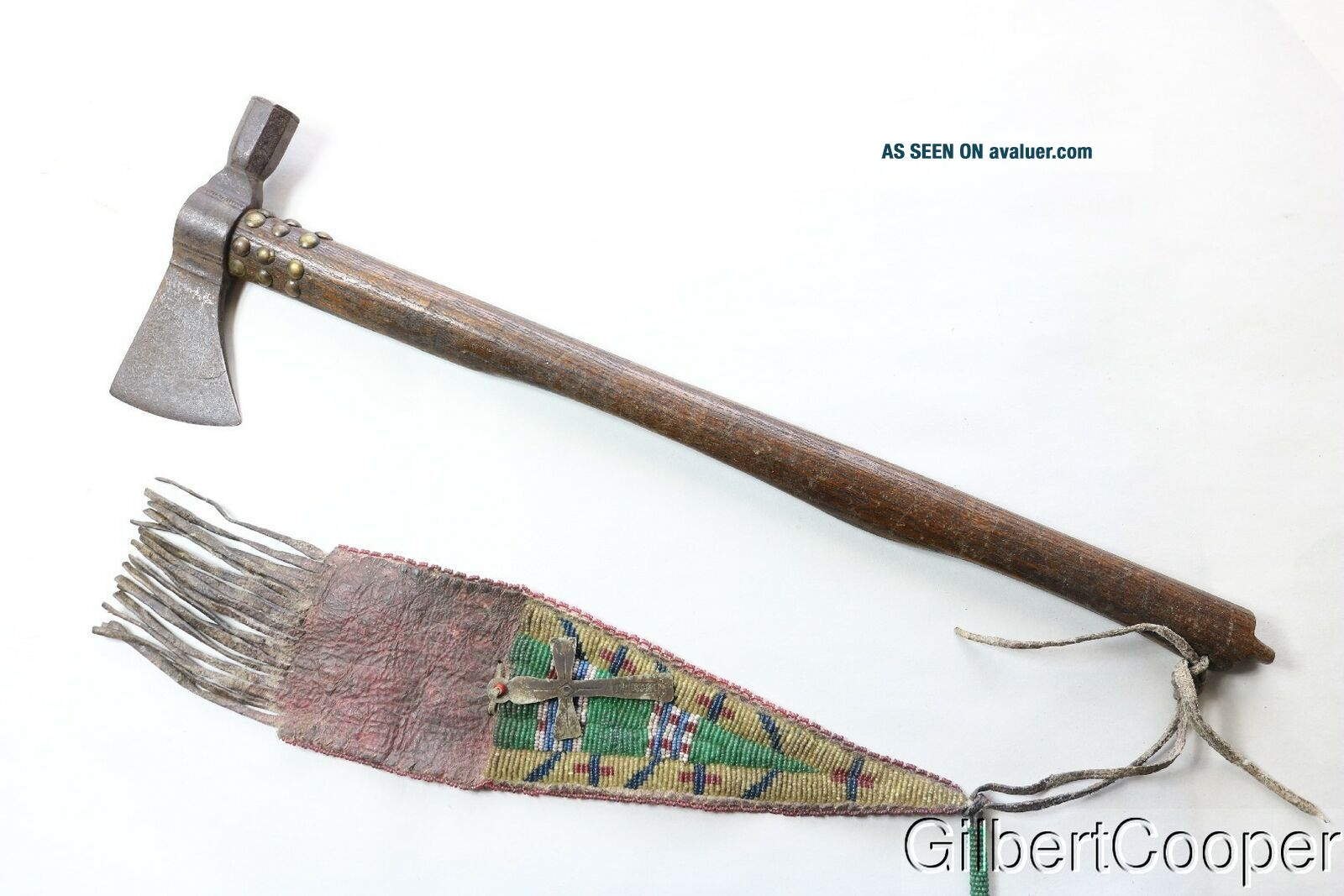 19TH CENTURY PIPE TOMAHAWK - SIOUX BEADED DROP
