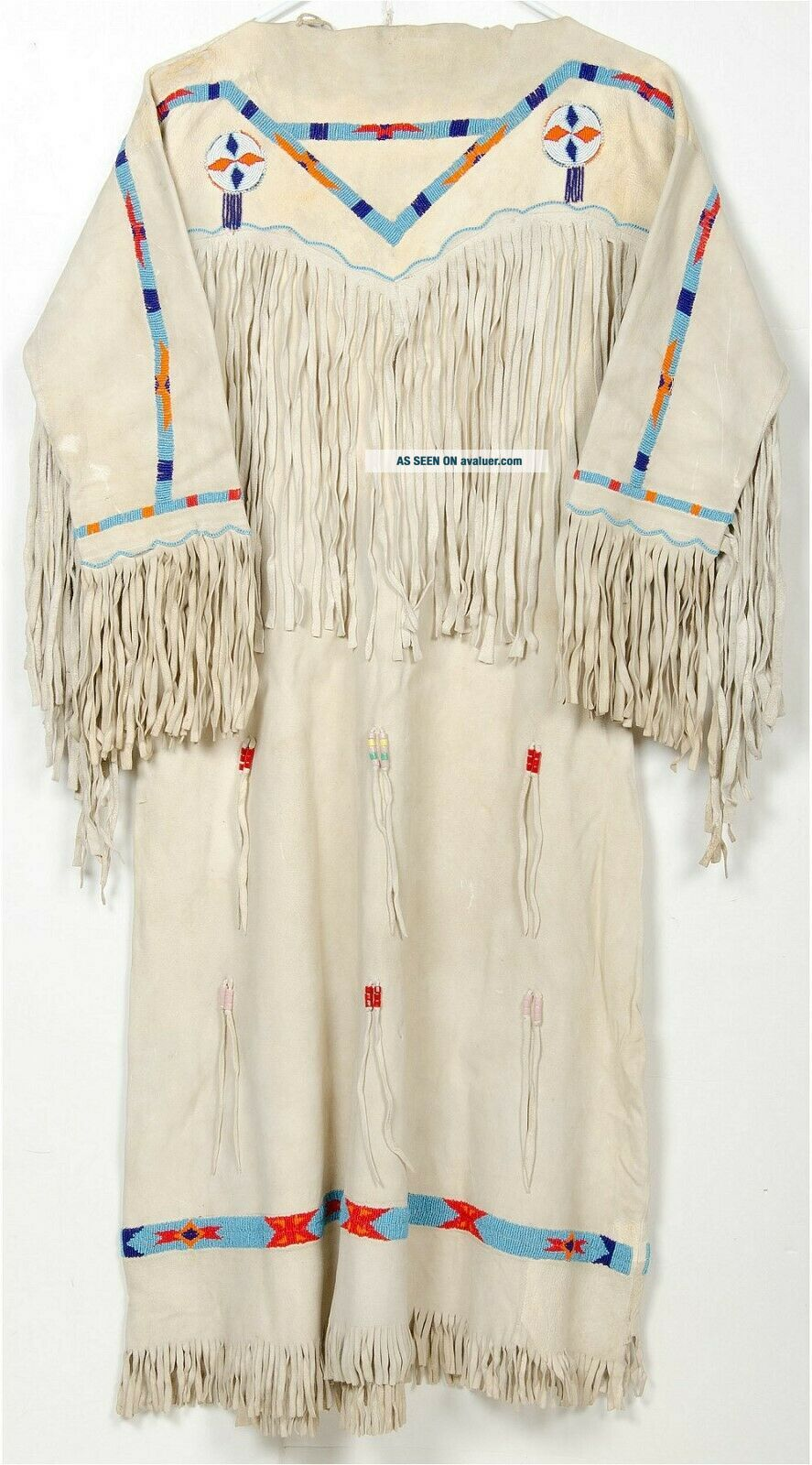 1940s NATIVE AMERICAN PLAINS / SIOUX INDIAN BEADED FRINGED HIDE DRESS STUNNING