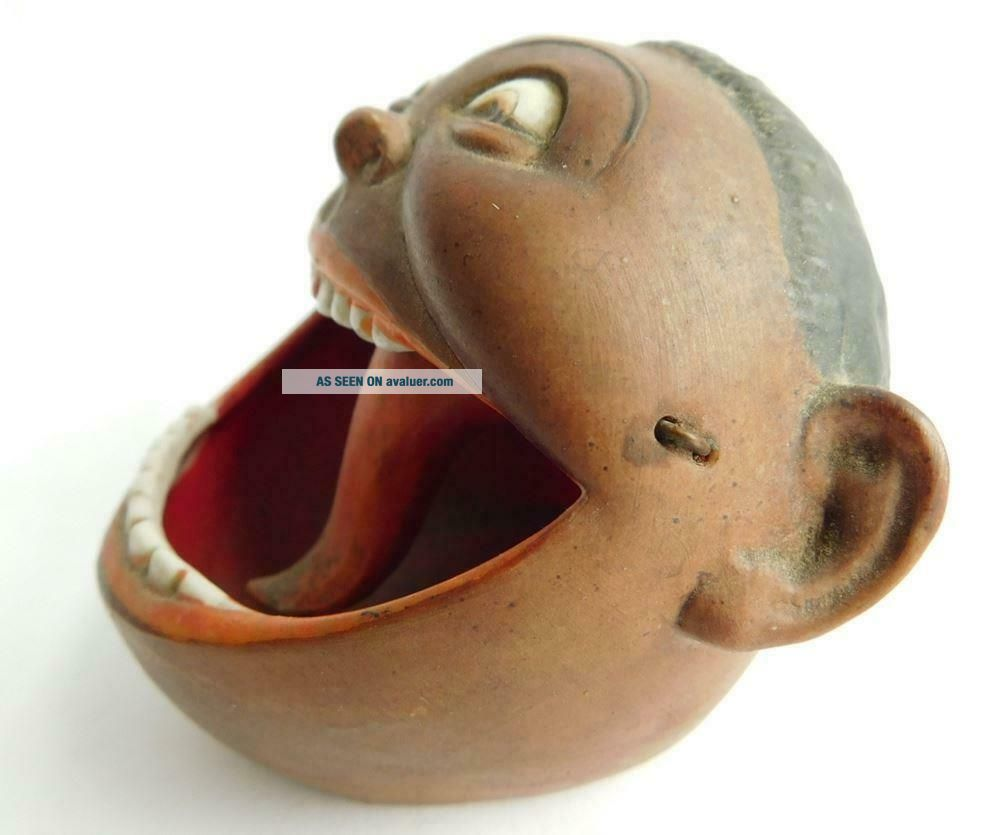 German Porcelain Schafer & Vater Nodding Tongue Open Mouth Ashtray Negro African