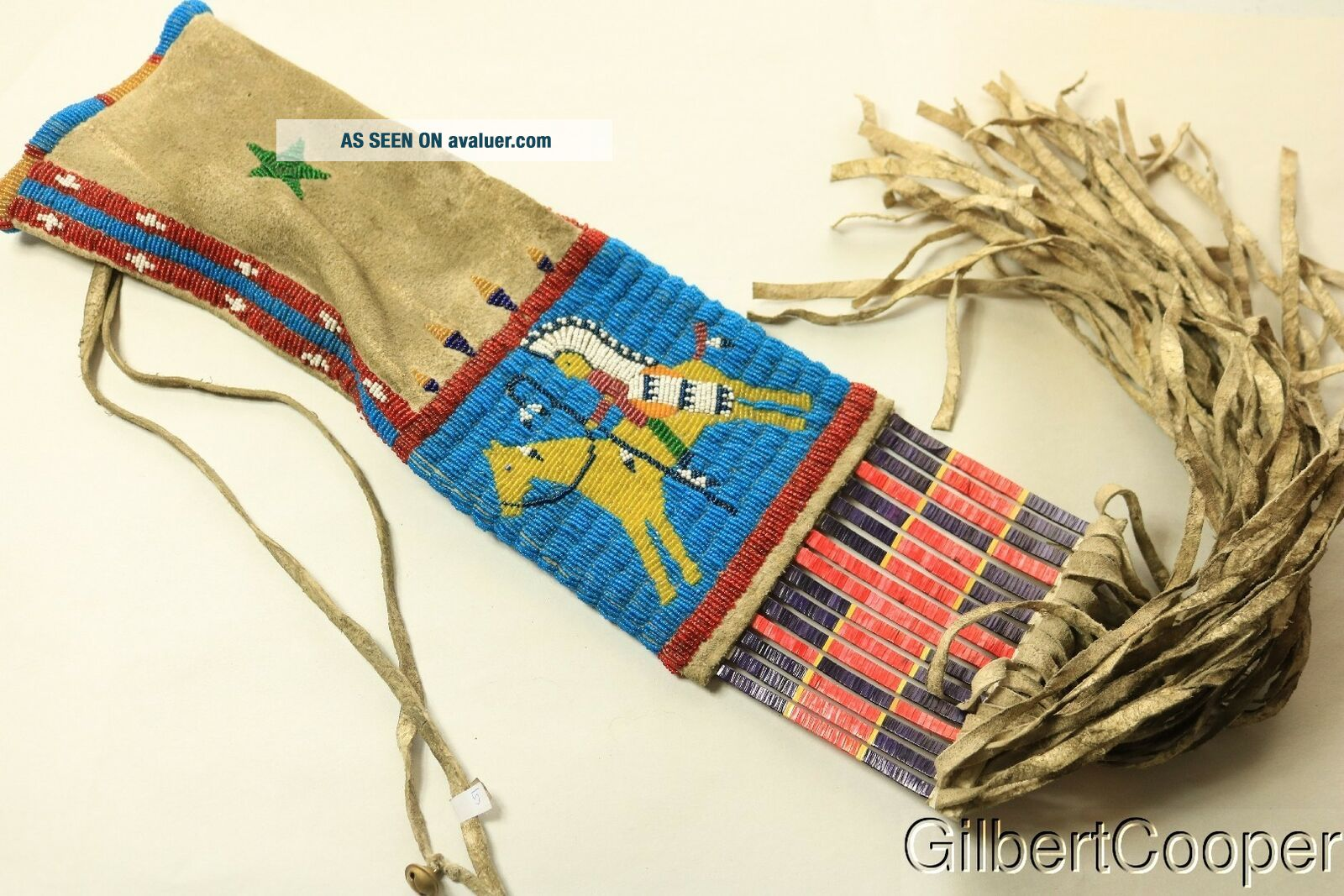 SIOUX BEADED FIGURE PIPE BAG W/FRINGE AND QUILLWORK