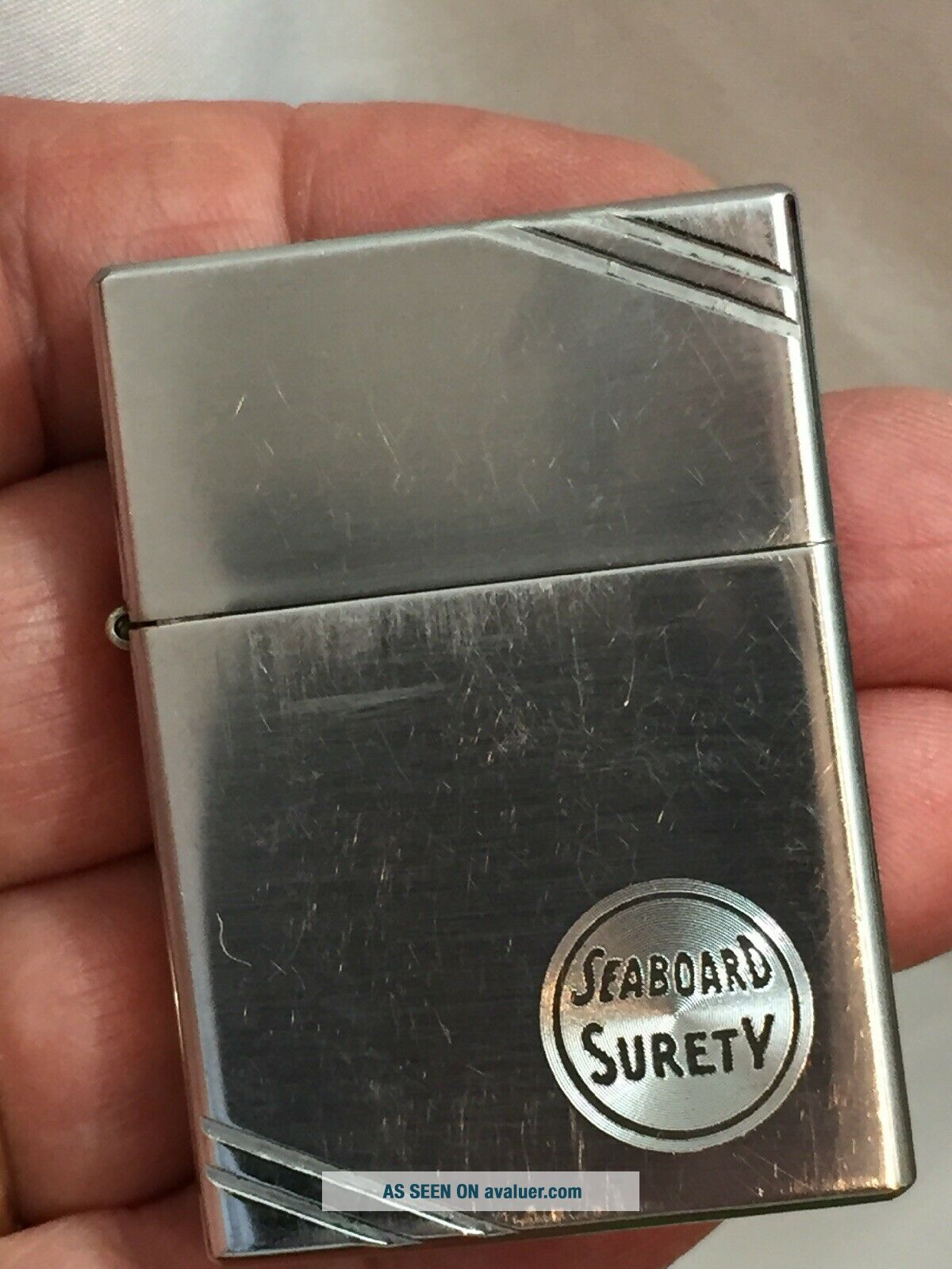 1936 4 Barrel Hinge Square Corners Slash Marks Zippo Lighter Adv SEABOARD SURETY