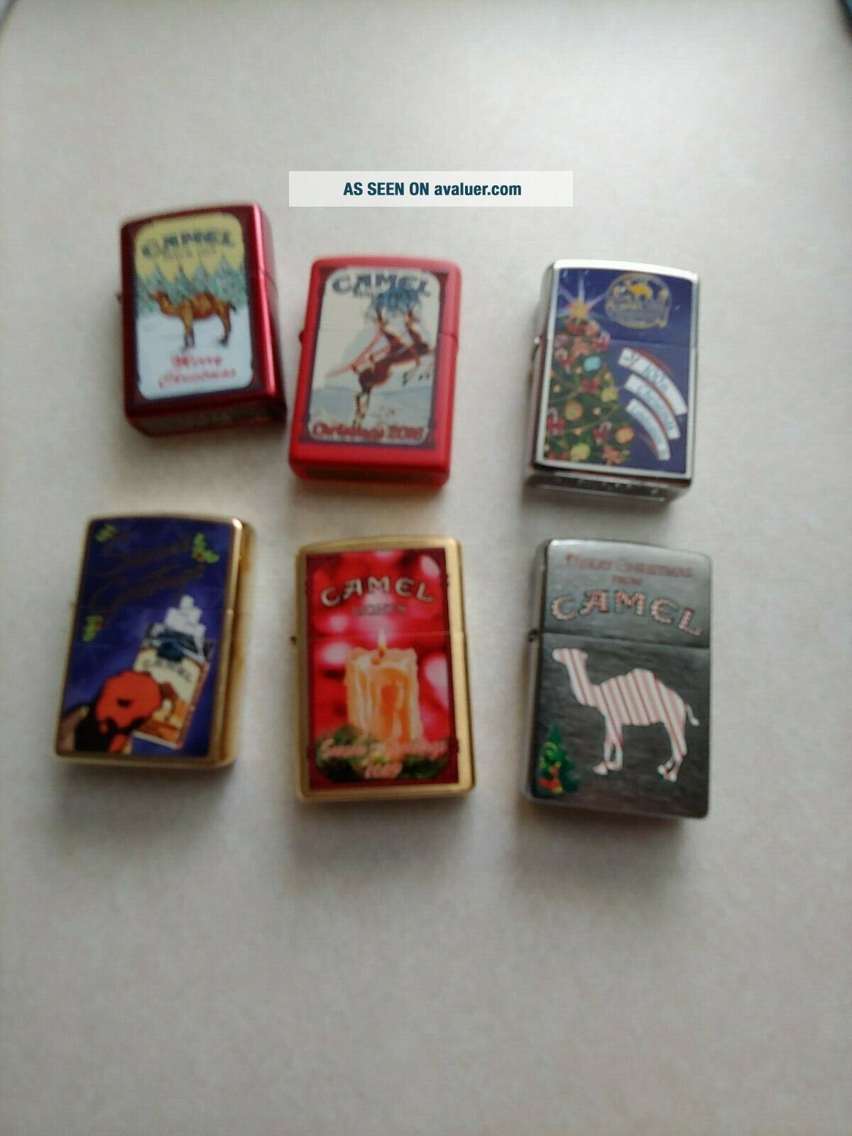 6 CAMEL ZIPPO CHRISTMAS LIGHTERS