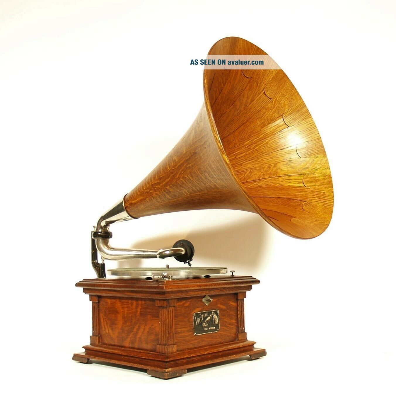 Near 1907 Victor II Phonograph w/Spear Tip Wood Horn Gorgeous