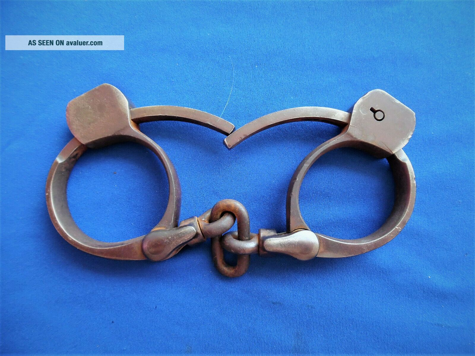antique TOWERS DETECTIVE western cowboy marshal handcuffs leg irons purs w key