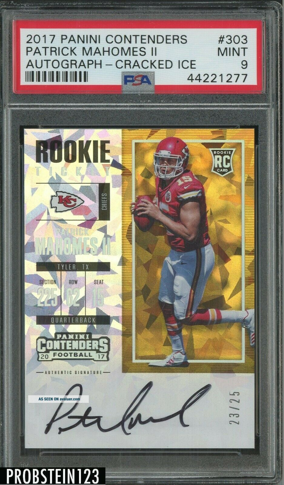 2017 Contenders Cracked Ice Rookie Ticket Patrick Mahomes RC AUTO /25 PSA 9