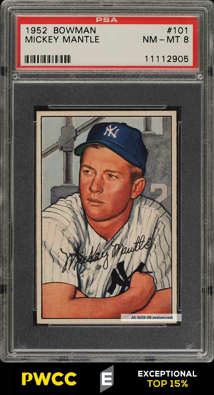 1952 Bowman SETBREAK Mickey Mantle 101 PSA 8 NM - MT (PWCC - E)
