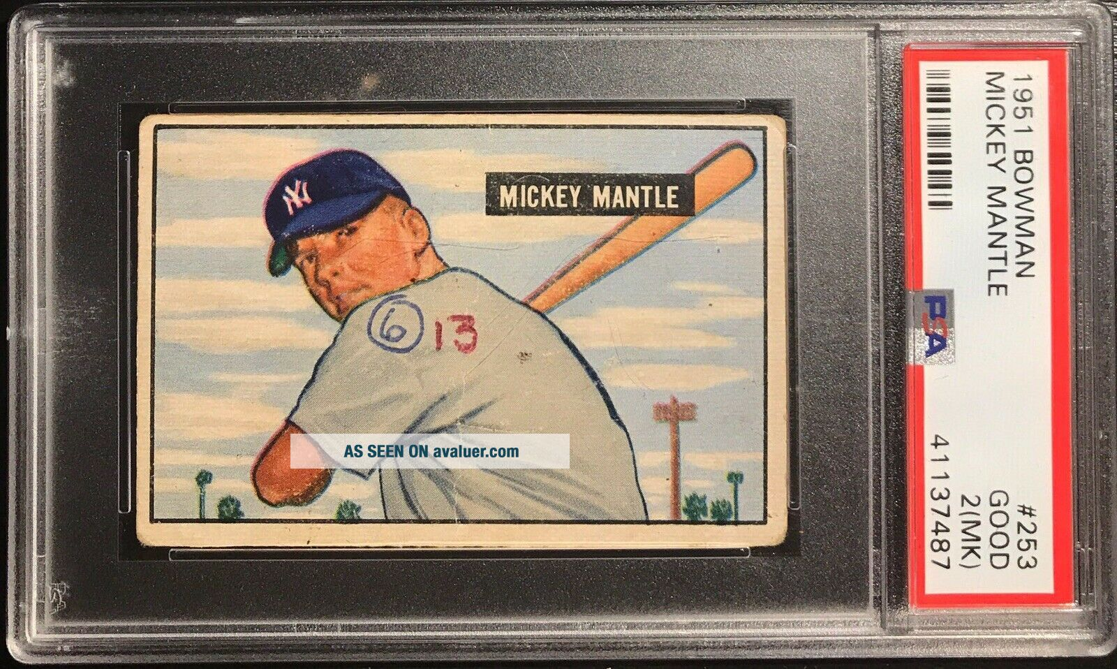 1951 Bowman Mickey Mantle Rookie RC Card 253 PSA 2 (MK) Good - Iconic Card