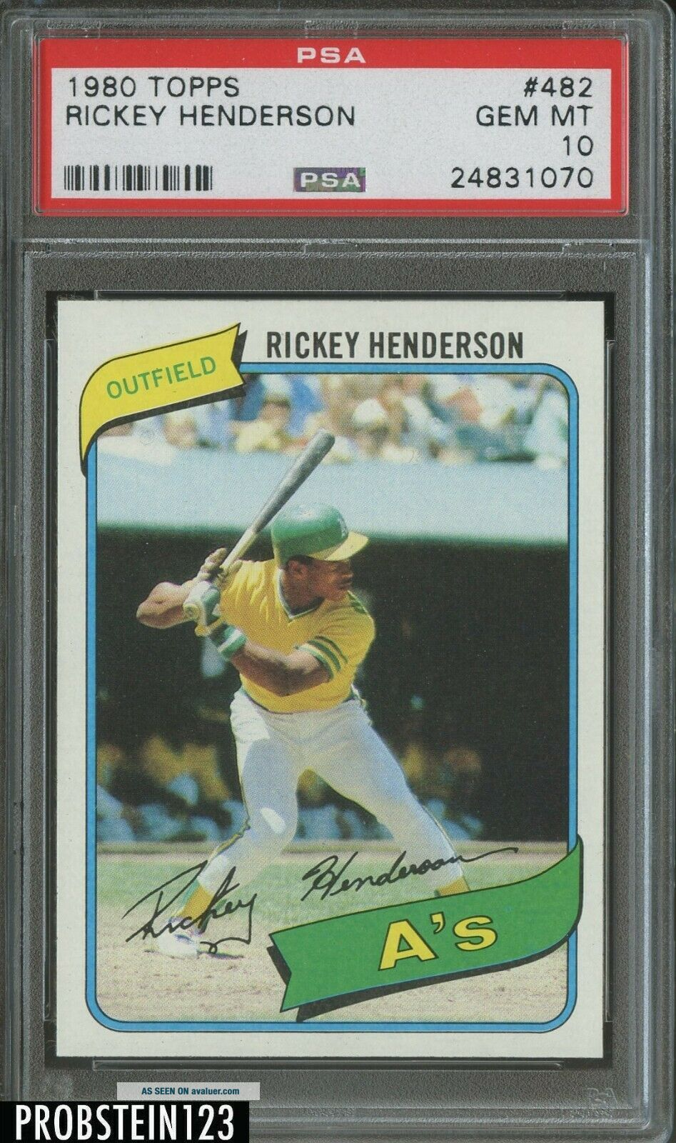 1980 Topps 482 Rickey Henderson A ' s RC Rookie HOF PSA 10 ABSOLUTELY FLAWLESS
