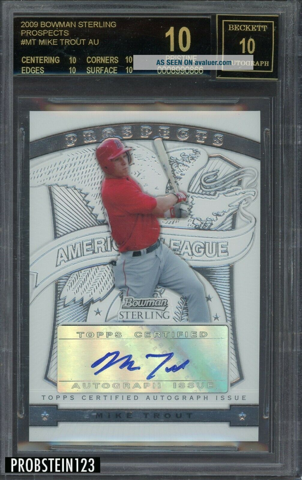2009 Bowman Sterling MT Mike Trout Angels RC Rookie AUTO BGS 10 BLACK LABEL