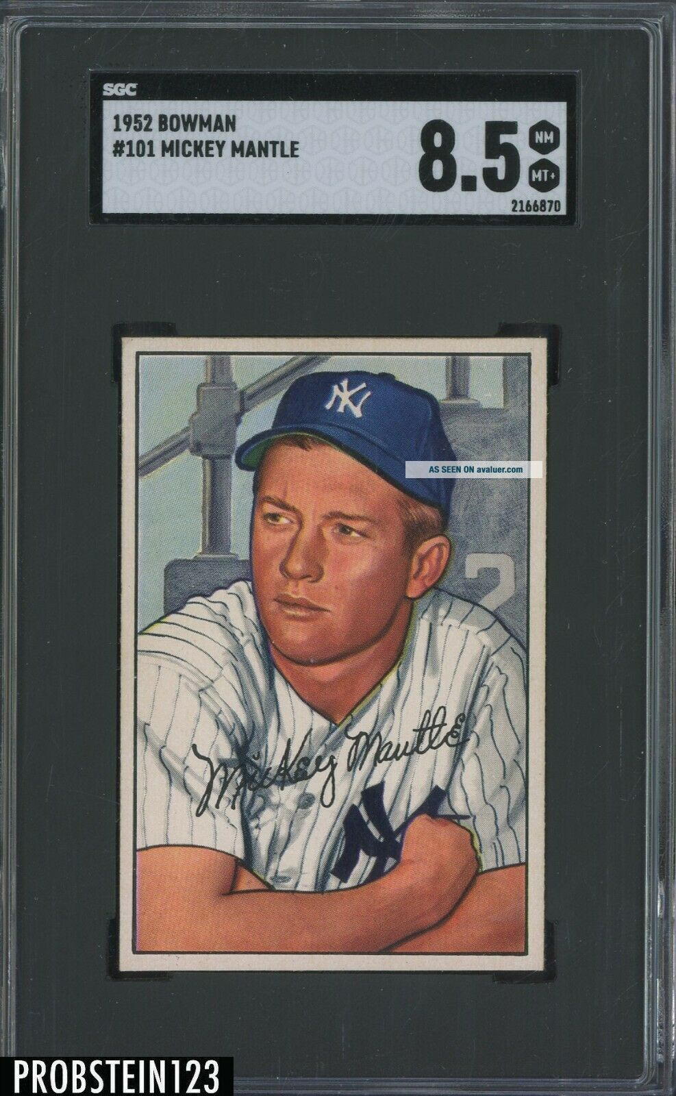 1952 Bowman 101 Mickey Mantle Yankees HOF CENTERED SGC 8.  5