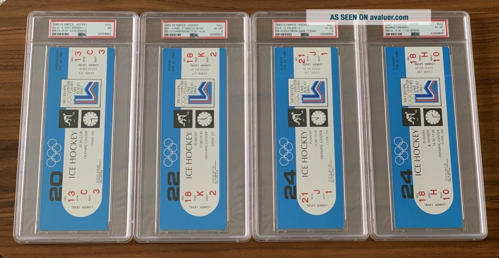 1980 Olympics Hockey Miracle on Ice USA vs USSR Complete Full (8) Ticket Set PSA