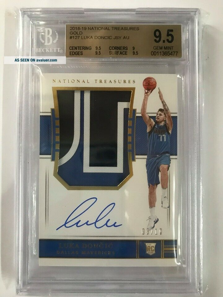 2018 - 19 National Treasures Gold RPA Rookie Patch Auto Luka Doncic 03/10 BGS 9.  5