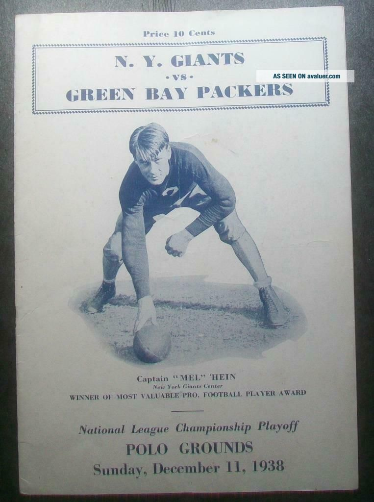 1938 NFL CHAMPIONSHIP PRE BOWL PROGRAM SUPERBOWL YORK GIANTS TAKE PAC