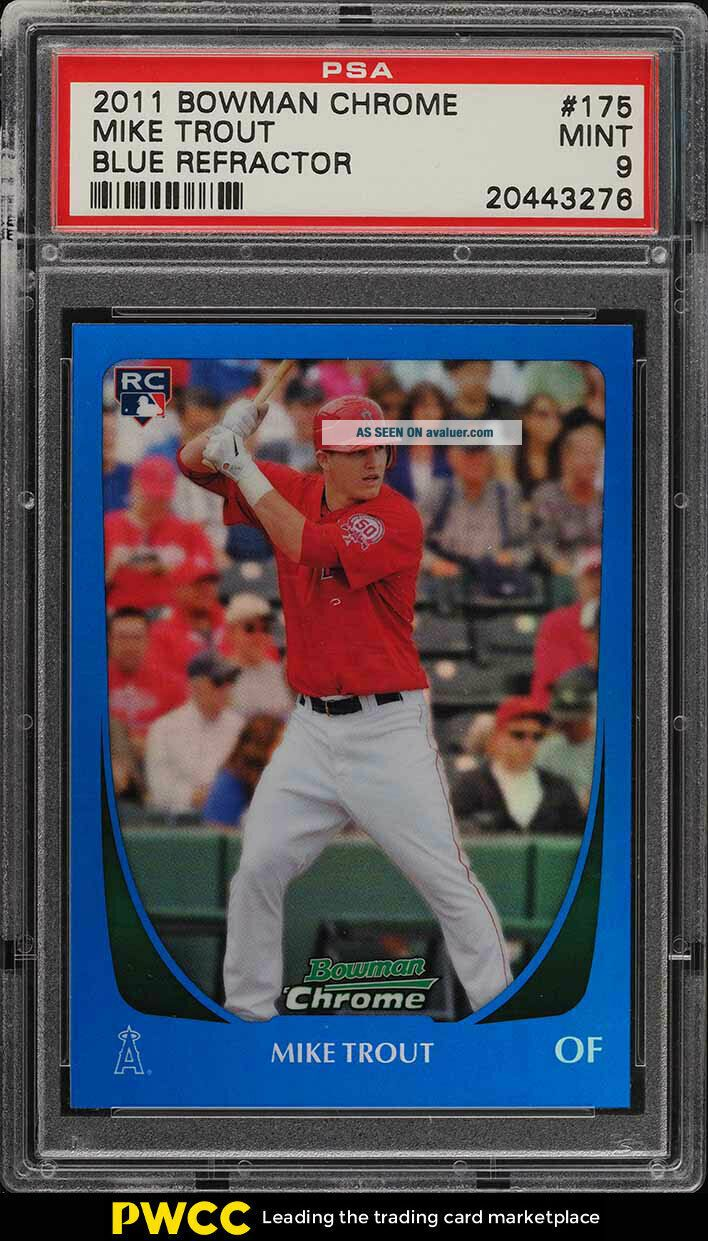 2011 Bowman Chrome Blue Refractor Mike Trout ROOKIE RC /150 175 PSA 9 MT (PWCC)
