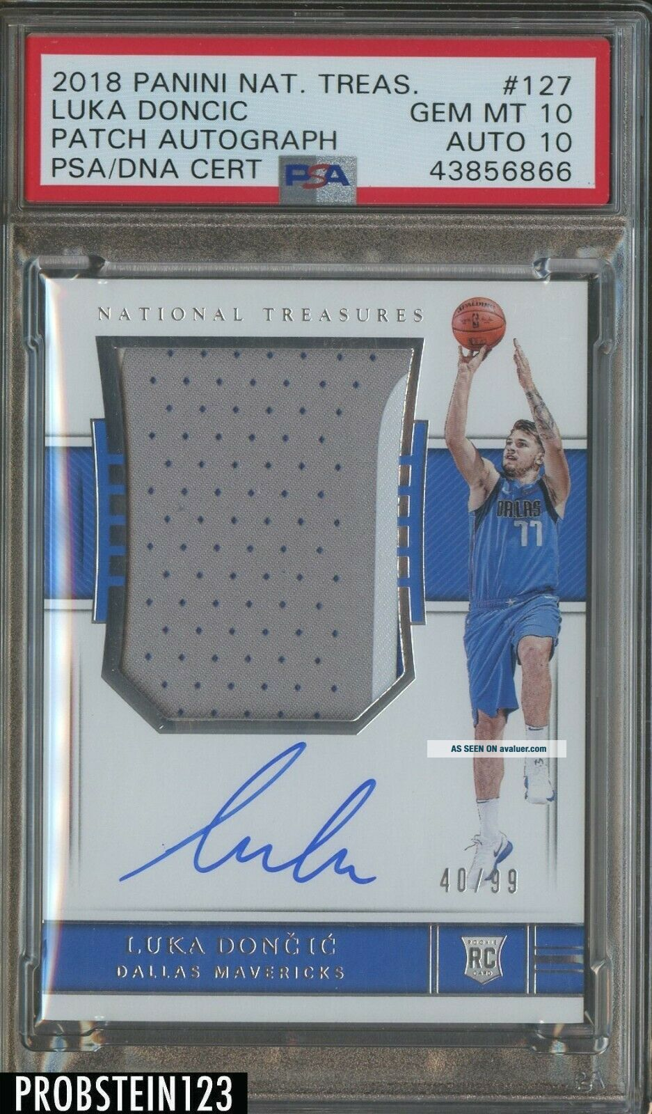 2018 - 19 National Treasures Luka Doncic RC Patch /99 PSA 10 PSA/DNA 10 AUTO POP 1