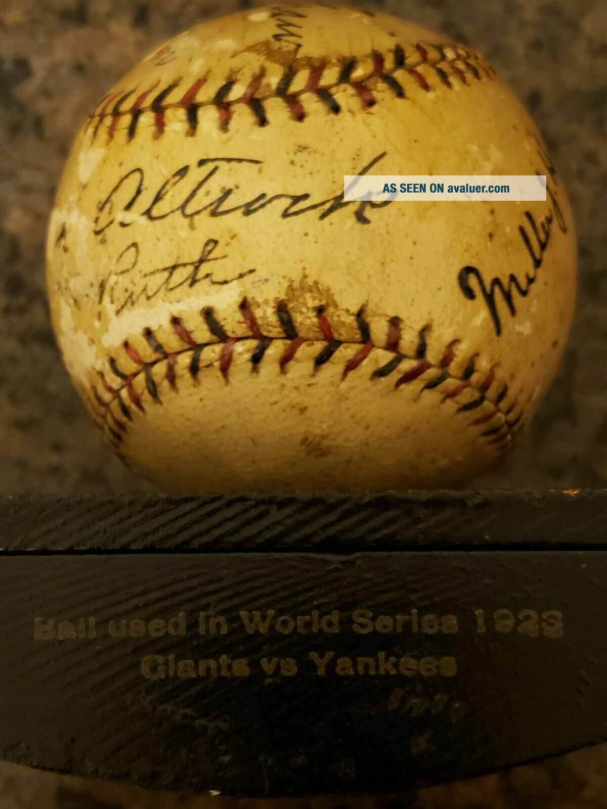 1923 World Series Game - Ball Signed by Ruth,  Huggins,  McGraw.  PSA Certified