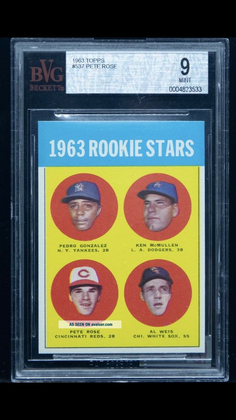 1963 Topps 537 Pete Rose Reds RC Rookie BVG 9