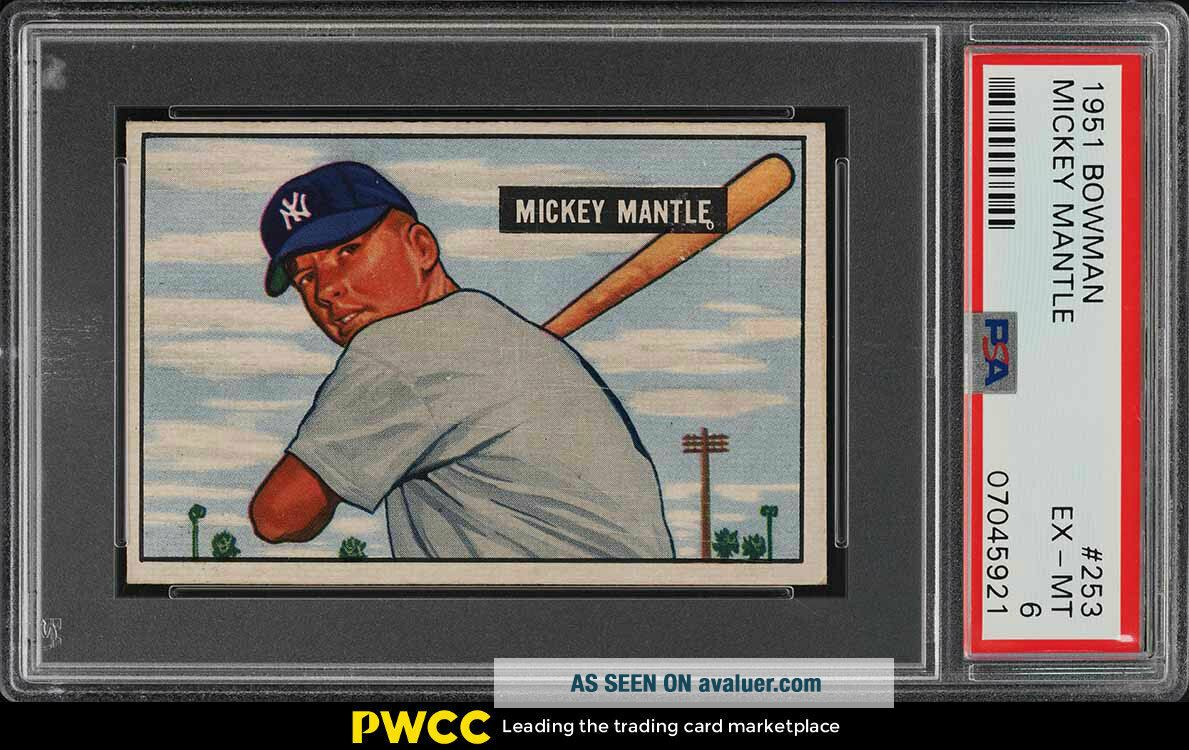1951 Bowman Mickey Mantle ROOKIE RC 253 PSA 6 EXMT (PWCC)