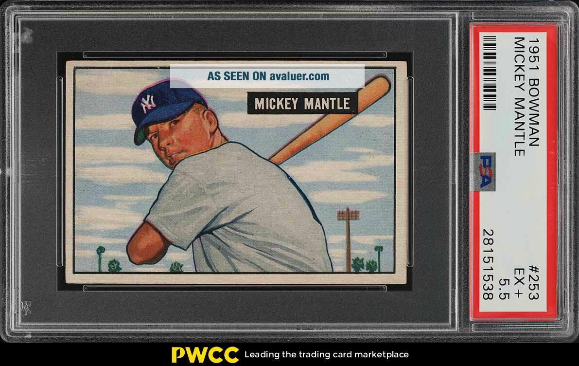 1951 Bowman Mickey Mantle ROOKIE RC 253 PSA 5.  5 EX,  (PWCC)