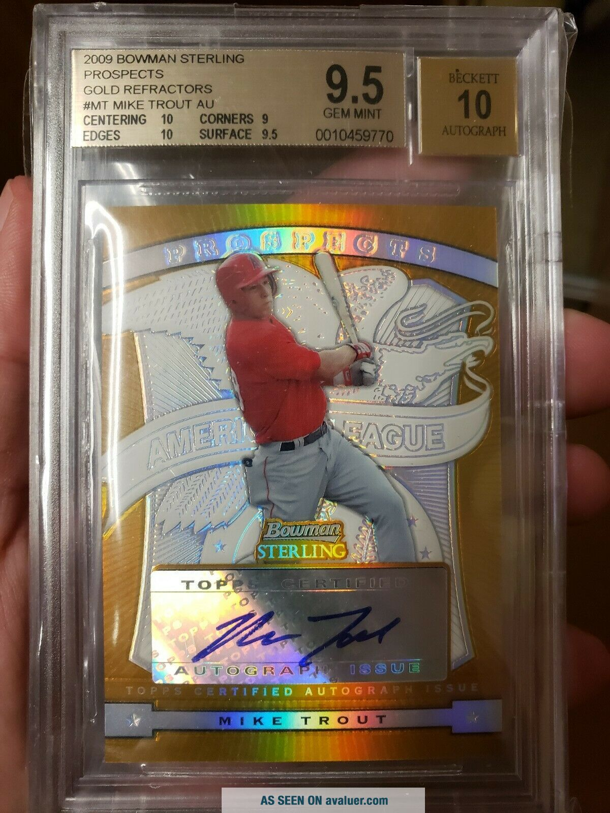 Mike Trout 2009 Bowman Sterling Gold Refractor /50 Gem 2 10 Subs BEST SUBS?