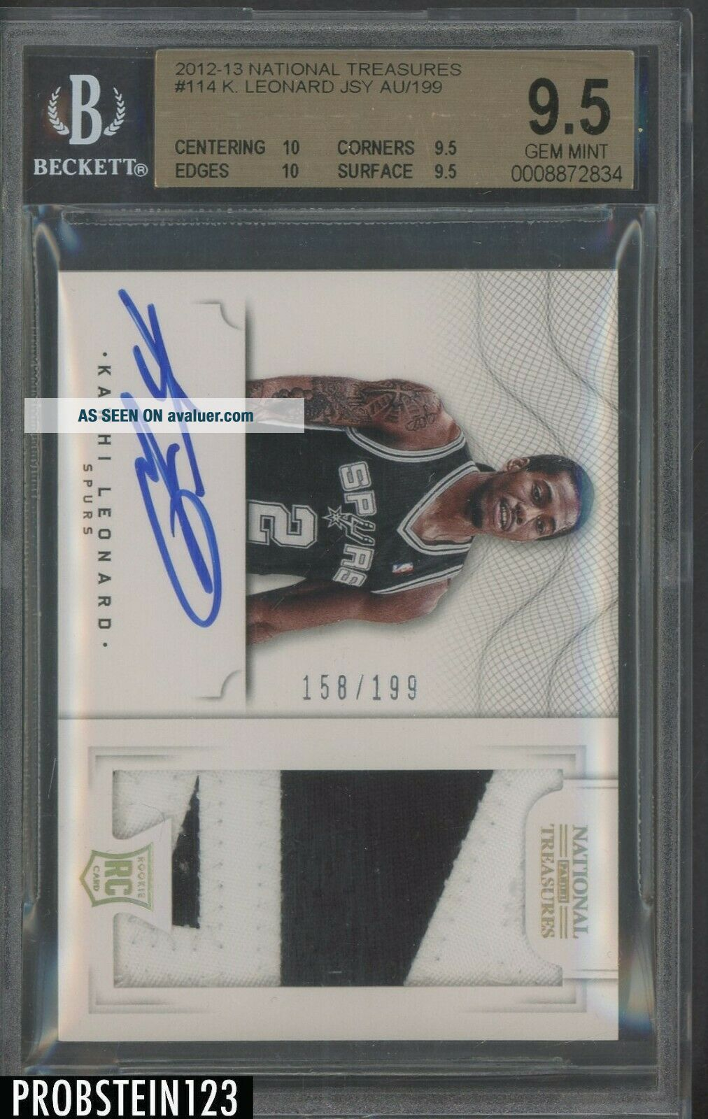 2012 - 13 National Treasures Kawhi Leonard RC Patch AUTO /199 BGS 9.  5 w/ (2) 10 ' s