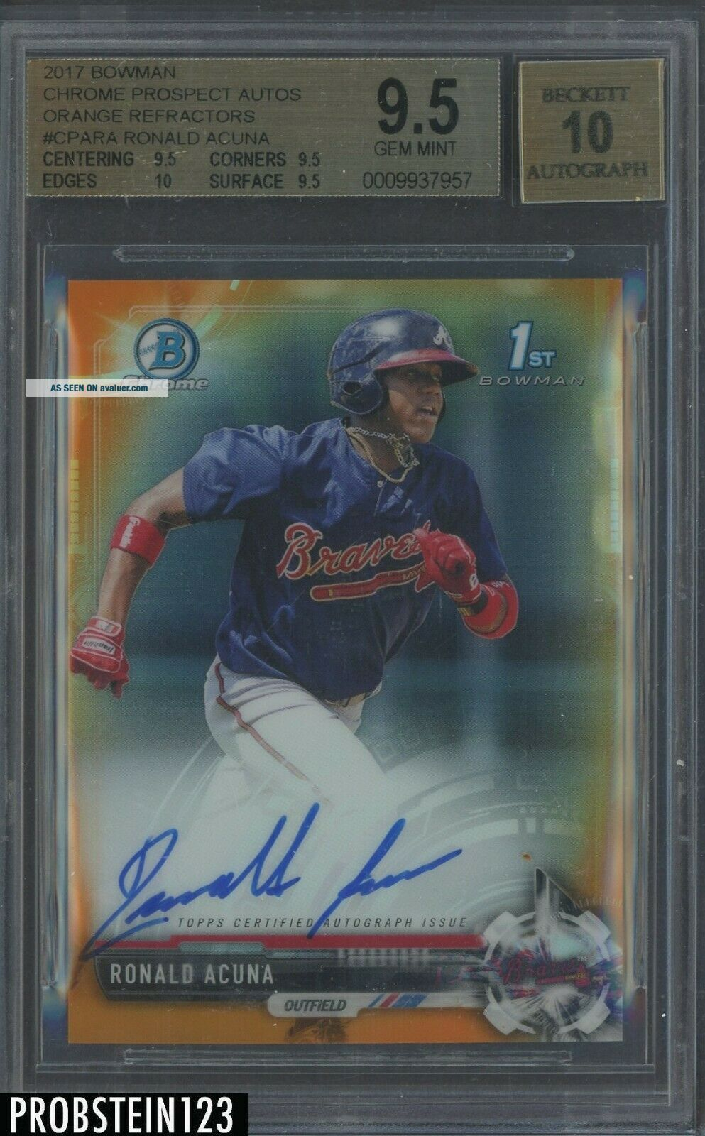 2017 Bowman Chrome Orange Refractor Ronald Acuna Braves RC AUTO /25 BGS 9.  5
