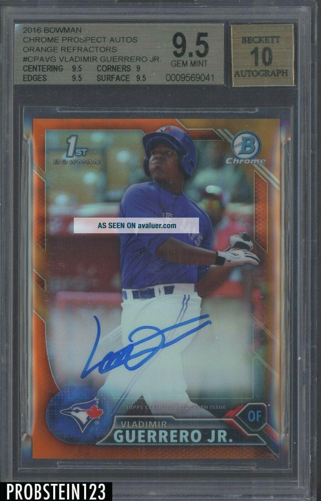 2016 Bowman Chrome Orange Refractor Vladimir Guerrero Jr.  RC AUTO /25 BGS 9.  5