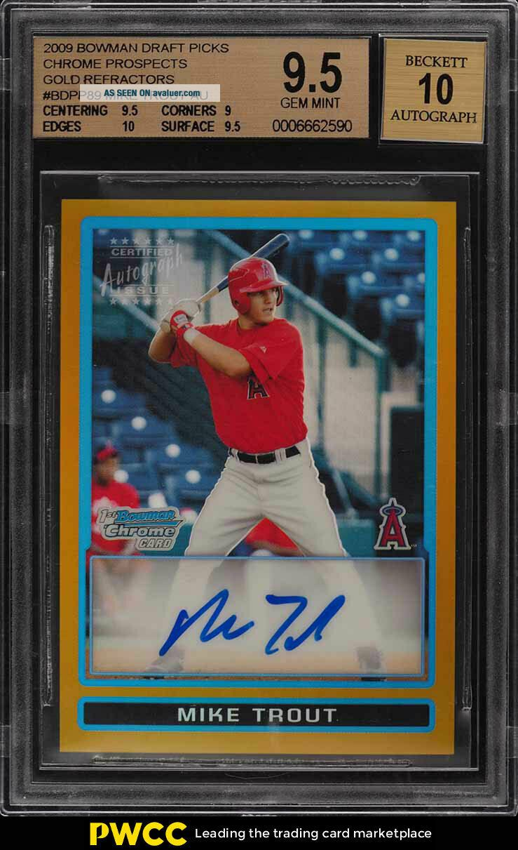2009 Bowman Chrome Gold Refractor Mike Trout ROOKIE RC AUTO /50 BGS 9.  5 (PWCC)