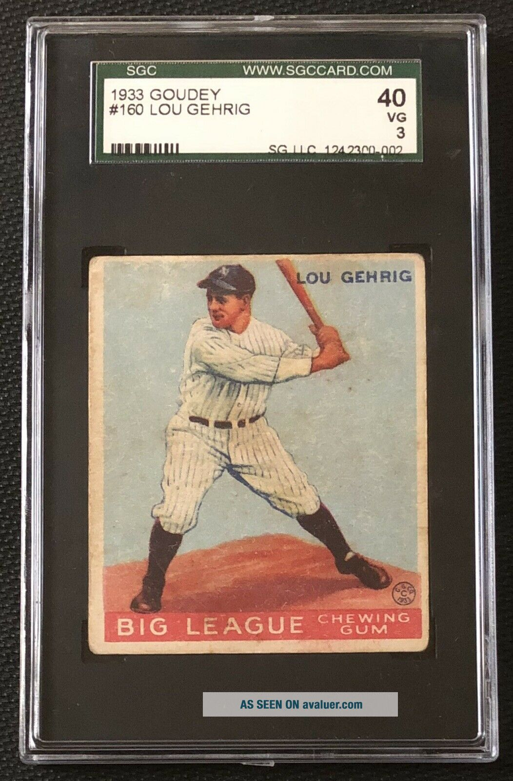 1933 Goudey Lou Gehrig SGC 40 / 3 Very Good 160 NY Yankees HOF