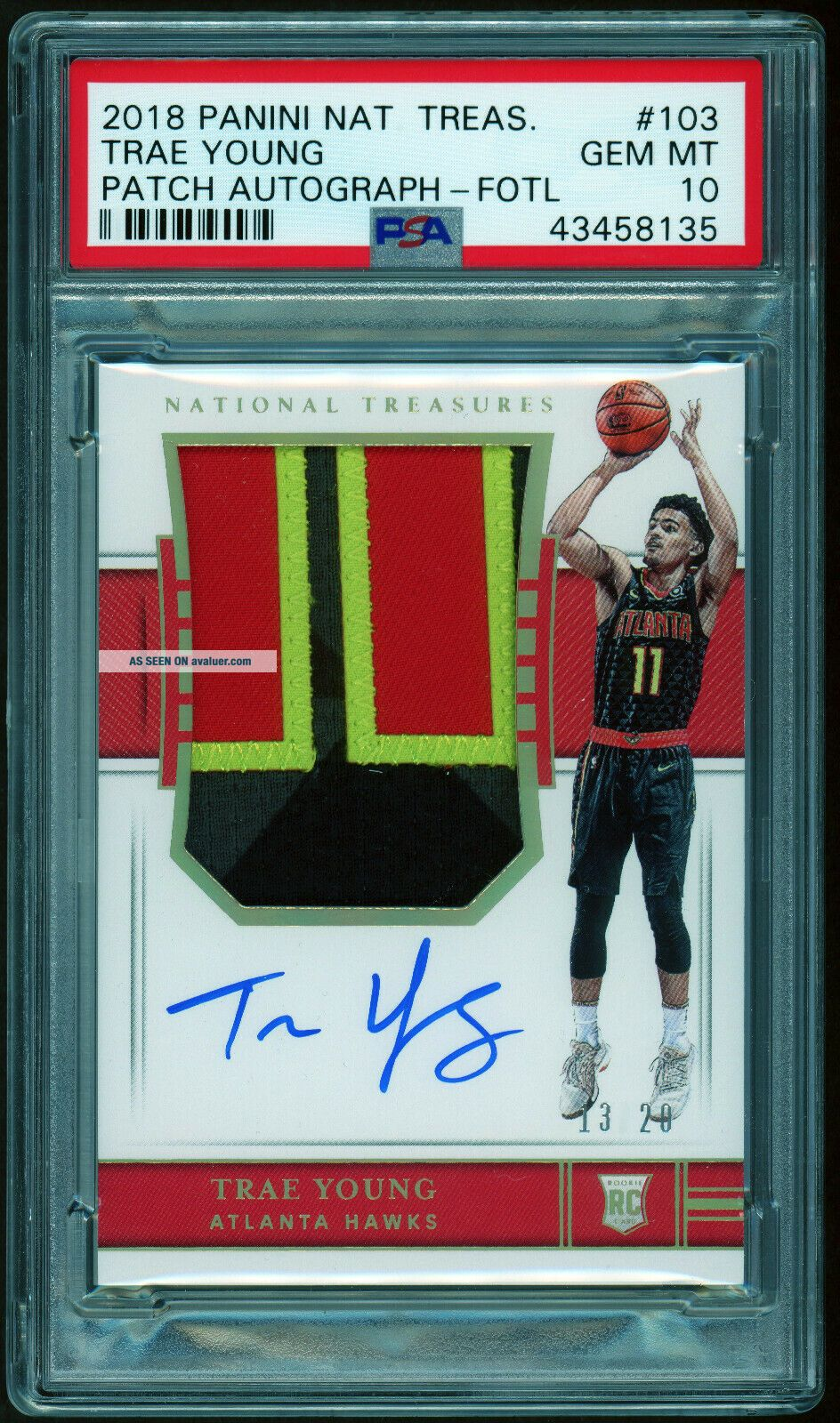 2018 - 19 National Treasures FOTL Trae Young /20 RPA RC 4 - Color Patch AUTO PSA 10