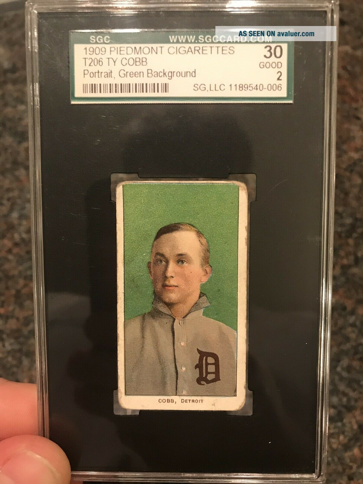 1909 - 11 T206 Ty Cobb Green Portrait Piedmont SGC Good 2 Eye Appeal Undergraded?