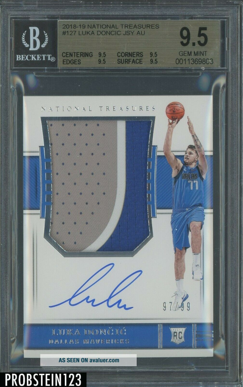 2018 - 19 National Treasures Luka Doncic RPA RC 3 - Color Patch AUTO 97/99 BGS 9.  5