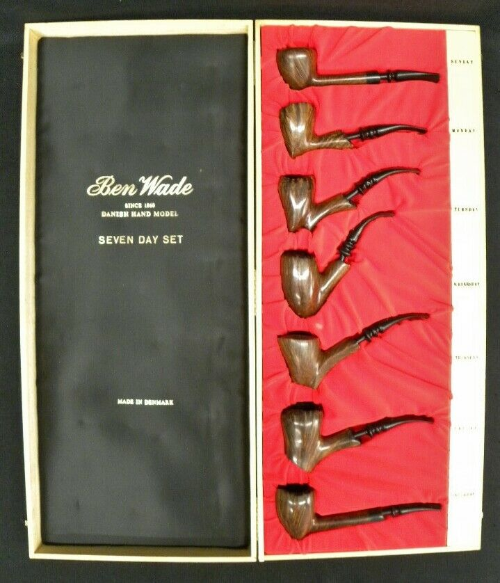 Extremely Rare Ben Wade Seven Day Tobacco Pipe Set Denmark 1970s